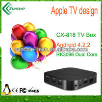 CX-818 apple tv design box, dual core, Android 4.2, hot selling!