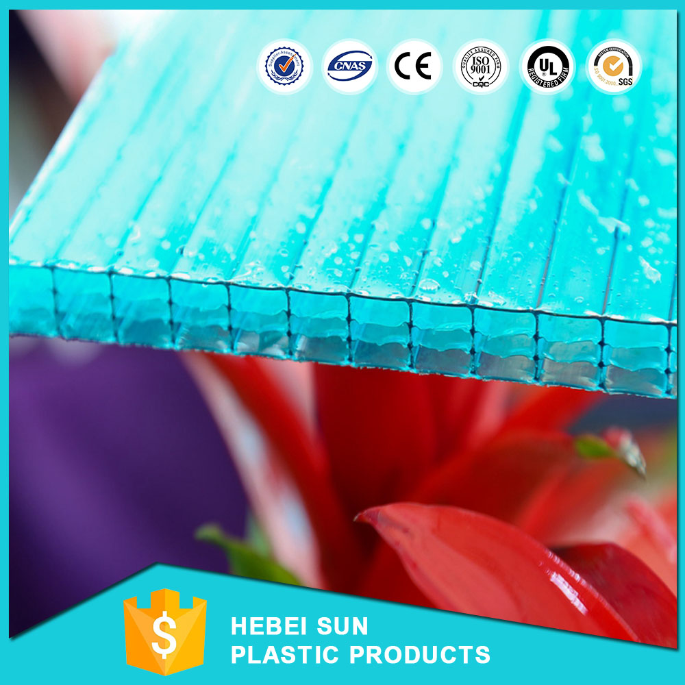 Waterproof thin double wall transparent plastic roof polycarbonate hollow sheet