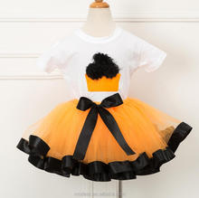 Christmas Halloween children's dress Baby princess Embellished Tutu Skirt + pure 100% cotton short sleeve Tshirt two pieces set