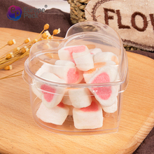 100% food grade clear candy chocolates clear plastic heart shape container with lid