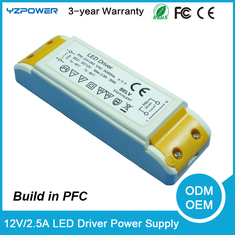 AC 12V 2.5A Dali LED Light Driver Transformer Power Supply Adapter Air Cooling