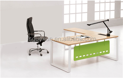 Guoxun Hotsale Simple Table OAK MAPLE Office Executive Desk With Material Edge MFC Manager Table With Long Side Cabinet