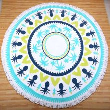 Factory Supply 21s 100% Cotton Round Beach Towel with Tassels And Brand Packing Box