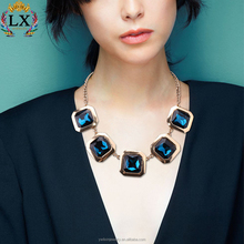 NLX-yy00551 jewelry manufaturer gold plated blue white and red crystal custom jewelry necklace