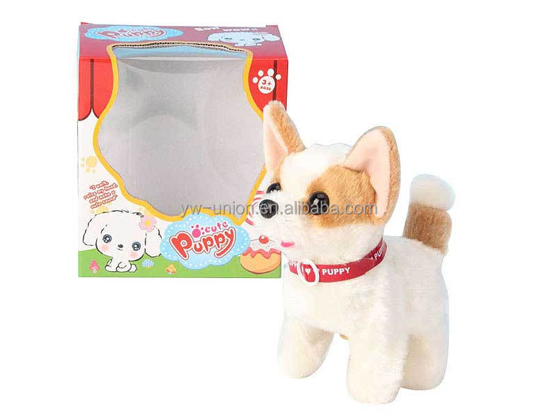 Early childhood education cute dog electric plush toys with show box