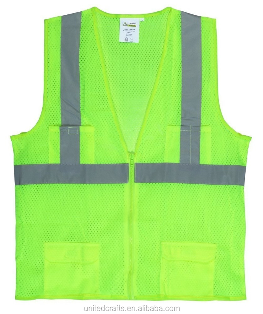 "Cordova Safety Products VS271P3XL Polyester Mesh Class 2 Surveyors Safety Vest with 2"" Reflective Tape, 3X-Large, Lime"