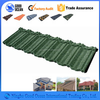 Unique roofing materials stone coated metal roof tile