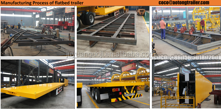 Heavy duty 40 foot container platform Flatbed 4 axles semi trailer truck