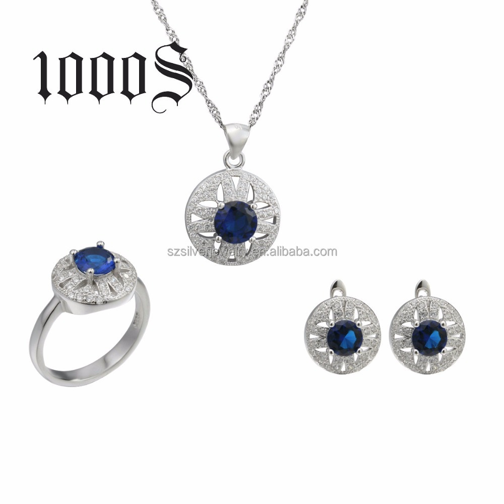 925 Sterling Silver colored rhinestone jewelry set for women's Christmas Gift
