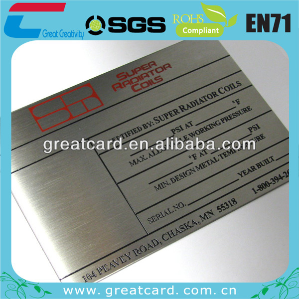 Stainless Steel Machine Industry Plate Tag