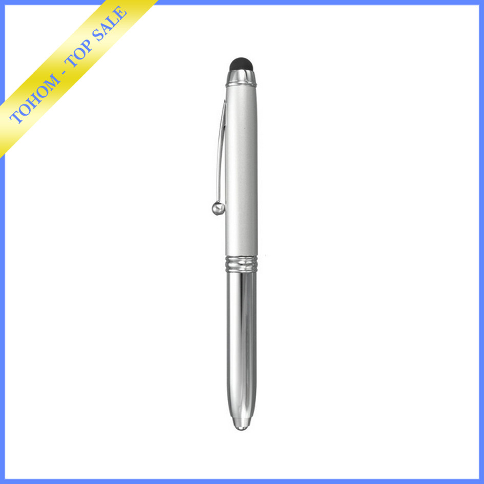 promotional gift 3 in 1 multifunctional led touch light pen with stylus light tip ball pen for Christmas