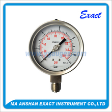 Liquid Fillable Bourbon tube mechanical Pressure Gauge all ss type