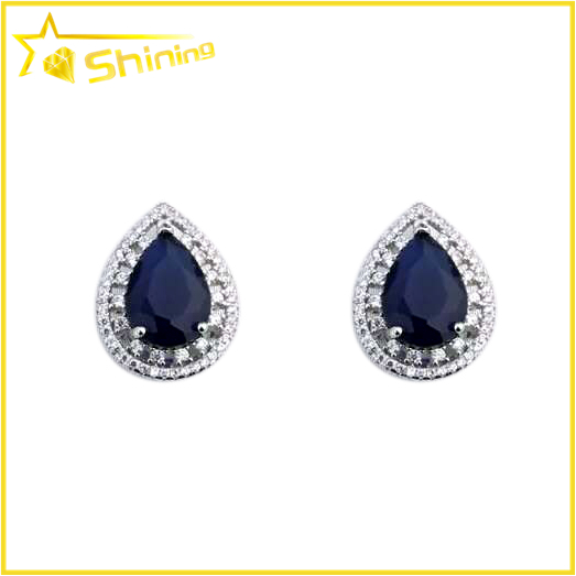 wedding silver earrings blue sapphire zircon white gold finished pear shape earring stud