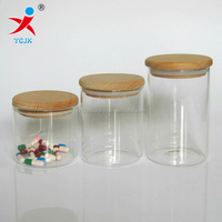pyrex borosilicate glass jar with wooden lids