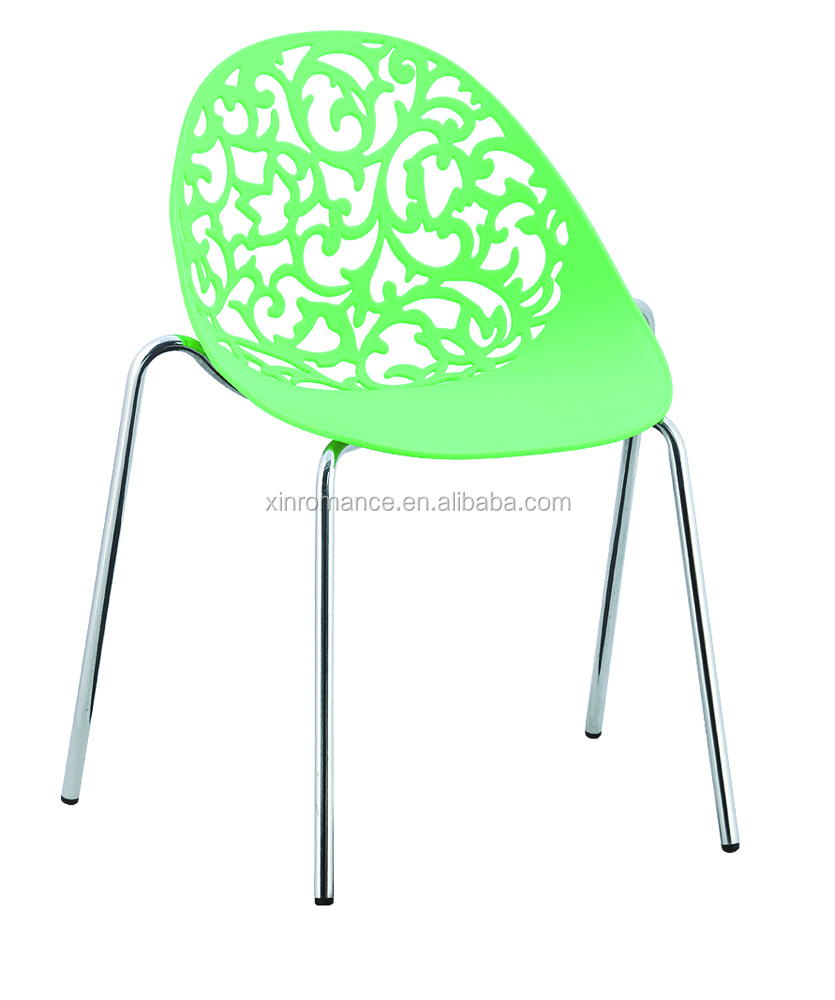 Hollow pattern plastic chair with chromed legs PC102