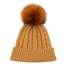 2017 Newest bright color cable knitting girls' pom pom cap beanie faux fur puffball hat