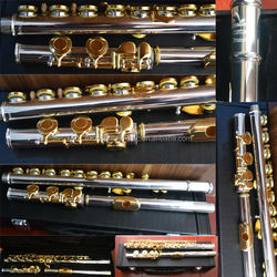 china cheap pro open hole flute musical woodwind instruments with C key and gold key and leather case
