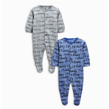 High quality baby snap front pajamas organic baby sleepwear two piece baby footed pajamas set