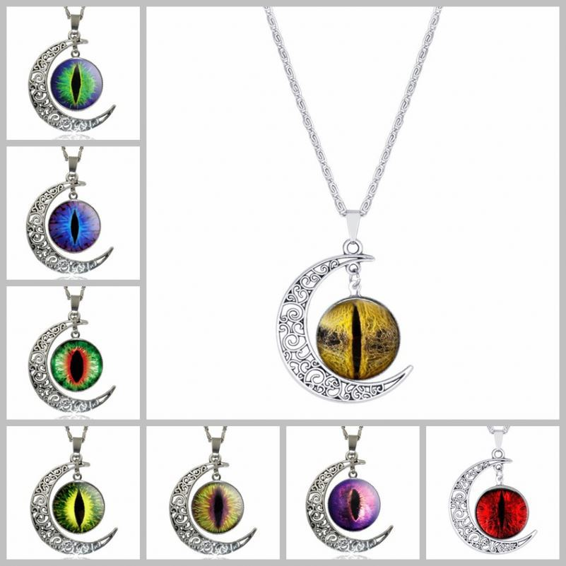 Hot Sale Evil Eye Designs Colorful Gem Moon and Galaxy Necklace for Women