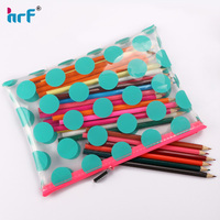 Soft water-proof transparent makeup case/pencil pouch with color dots
