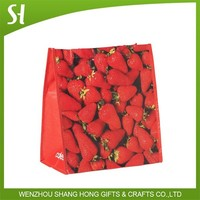 high quality red color large strawberry pp shopping tote bag for supermarket packaging