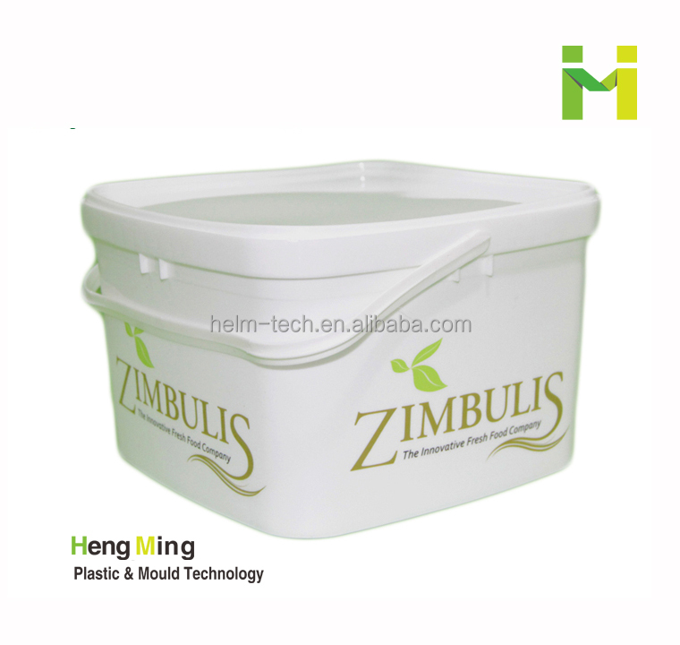 3L Food Grade Square Salad Bucket With Lid and handle
