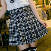 2016 Juqian OEM Japanese hign school summer designer short blue pleated plaid skirts