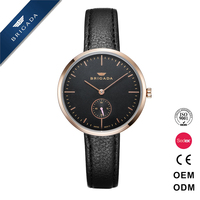 Shenzhen aiers watch stainless steel case custom color genuine leather strap sub-dial quartz watch for woman