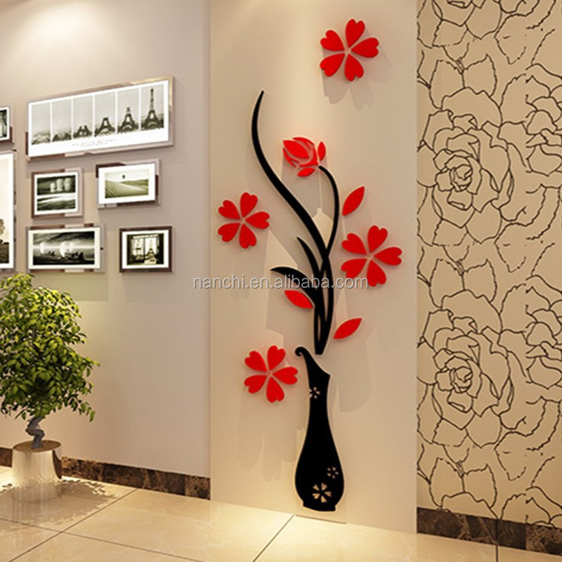 Acrylic 3D Plum Flower Vase Wall Stickers home decor creative wall decals living room entrance painting flowers For Room DIY