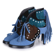 Color Mix And Match Special Designer Suede Leather Tassels Ankle Boots Hollow Out Slip-On Ladies Boots Peacock blue Camel
