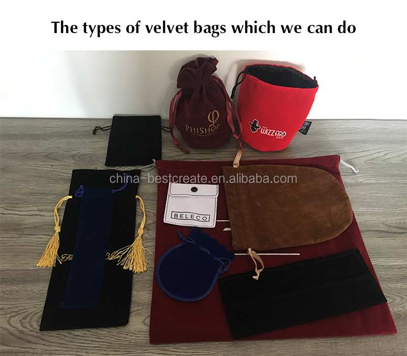 High quality Custom color and size Drawstring double face velvet promotion bags