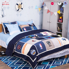 Artextile blue geometric teenager bedding patchwork coverlet bedspread 3-pieces quilt set for kids boy ,queen