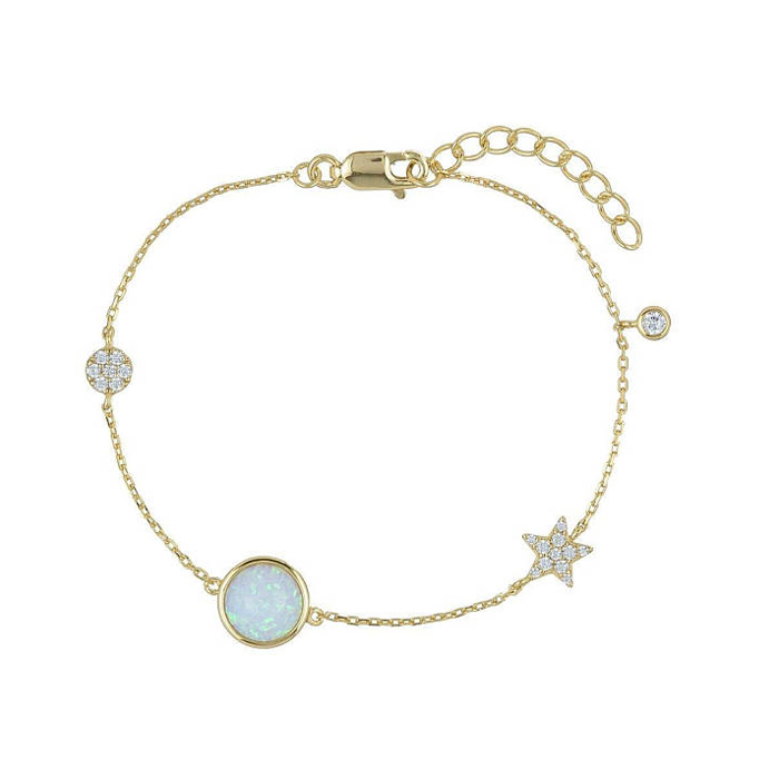 fashion 18k gold plated jewelry cz dots star opal connector classic design link chain fashion bracelet