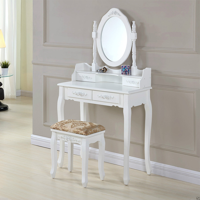 Eco-friendly customized color wooden dressing table with mirror and stool