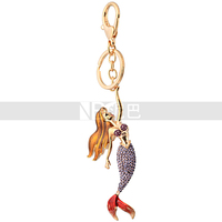Fashion Jewelry Little Mermaid Fairy Tale Excellent Custom Crystal Mermaid Keychain
