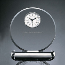 K9 crystal desk clock crystal clear round quartz clock for wholesale