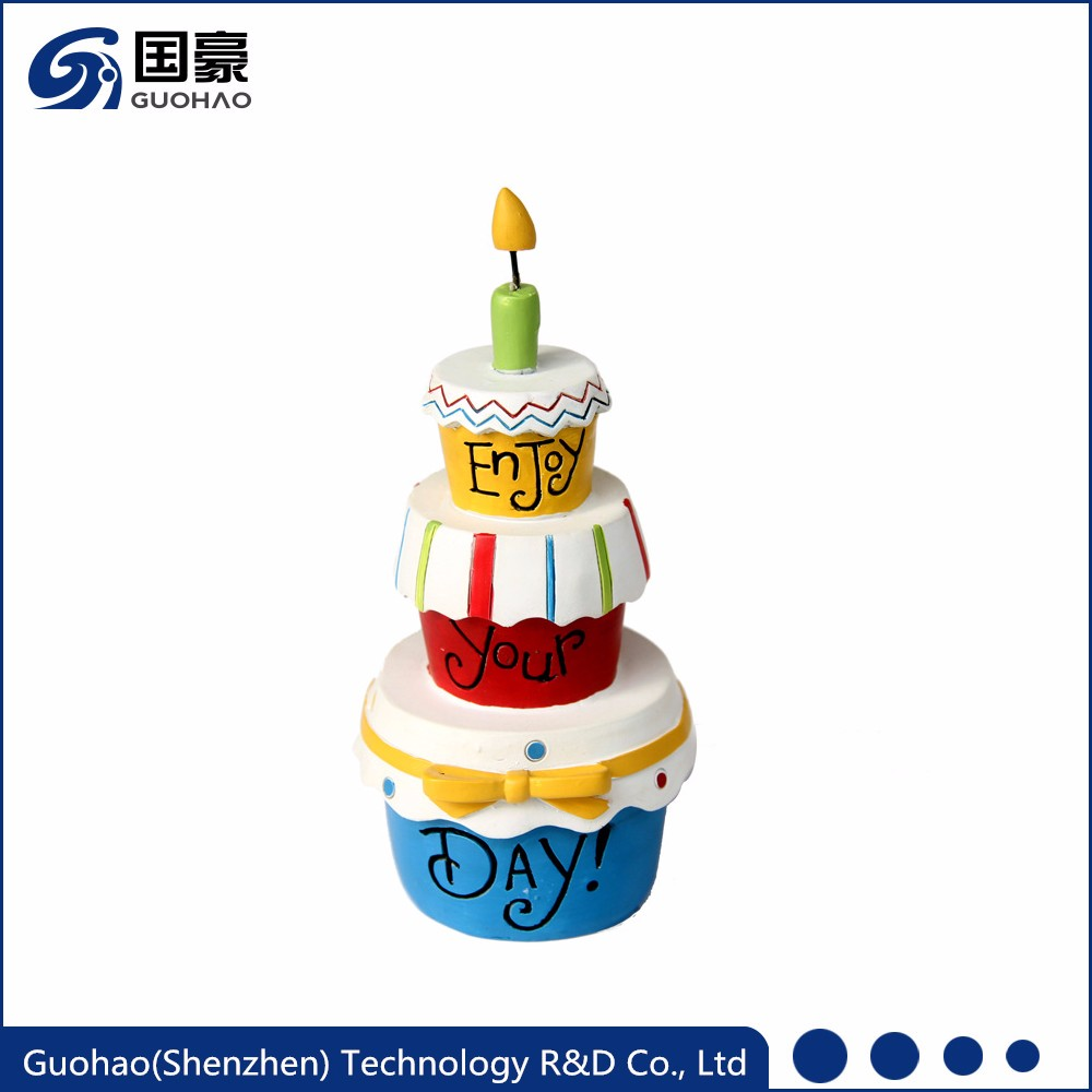 Custom birthday gifts resin artificial birthday cake model