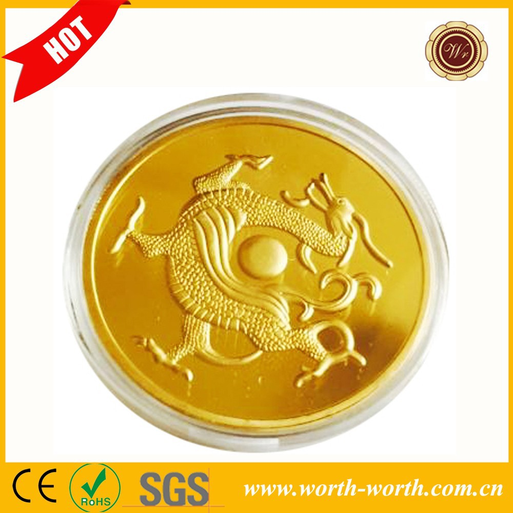 China Supplier Precious Ancient Chinese Dragon 24k Gold Plated Coin, Metal Replica Coin Of China With Trigrams On The Back