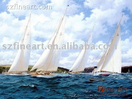 Handmade scenery ocean waves oil paintings of sailboats
