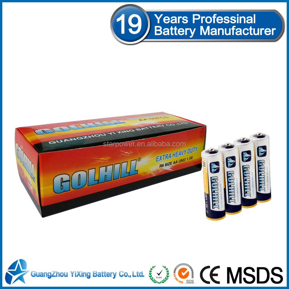 Made in china R6 Zinc batteries 1 5v battery