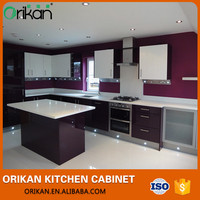 New Design White and purple Lacquer Finish Kitchen Furniture with Island