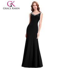 Grace Karin Sexy Women Dresses Sleeveless Long Backless Mermaid Evening Dress CL6061-1#