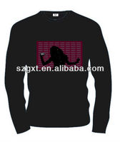 Long Sleeve EL lighting T-shirts/sound activated t-shirts