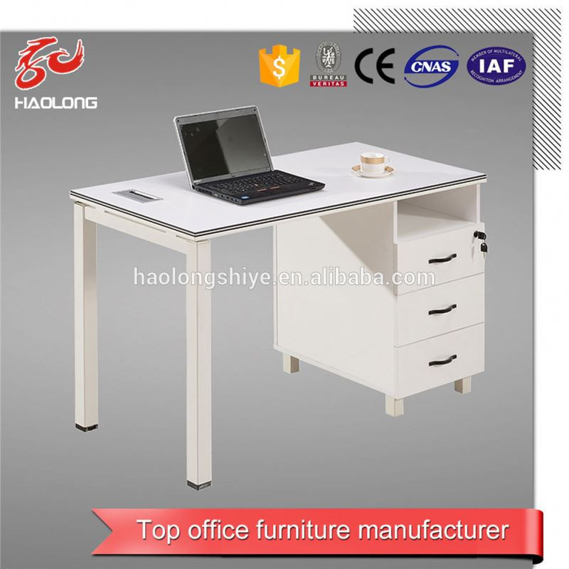 Wooden and steel simple computer table for internet cafe