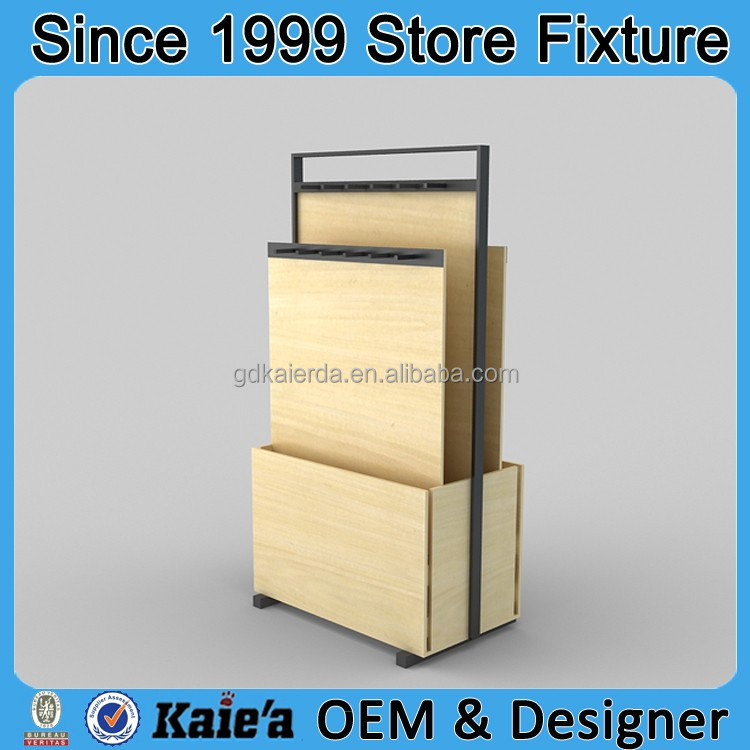 New design wood leather belt display stand in china
