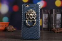 Crawl PU Leather Snake Pattern Hard Case with Ring Lion Head Door Knocker Stand/holder for Iphone 6