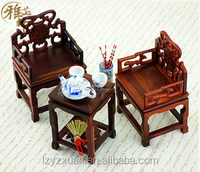 2016 Qaulity Product Wooden Carving Antique Miniature Dollhouses Three-Pieces Chairs for Home Decoration