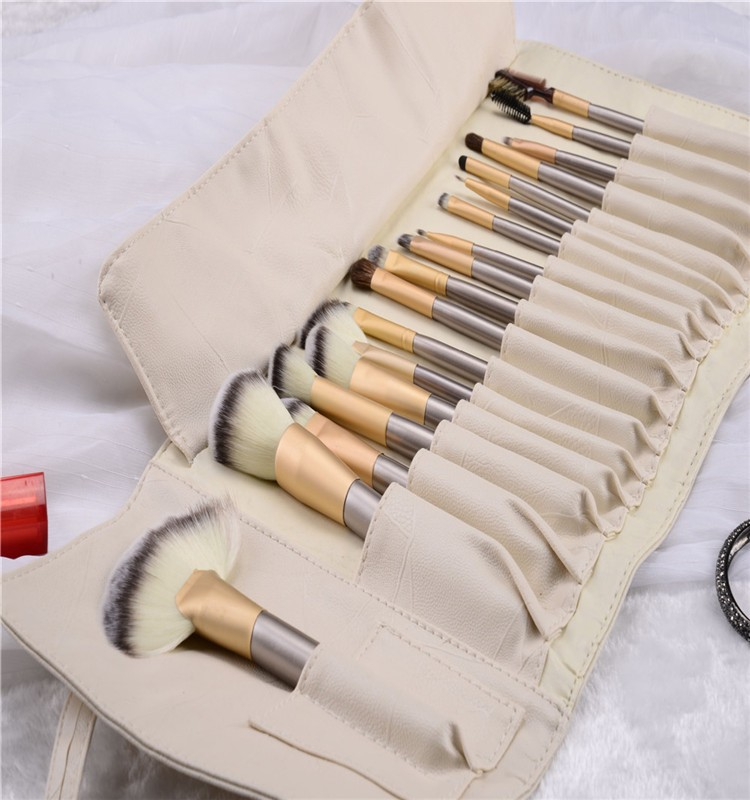 Personalized 18pcs makeup brush cylinder case cosmetic brush kit with PU pouch