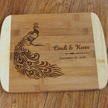 Personalized Custom Cutting Board Peacock Engagement Gift Wedding Gift