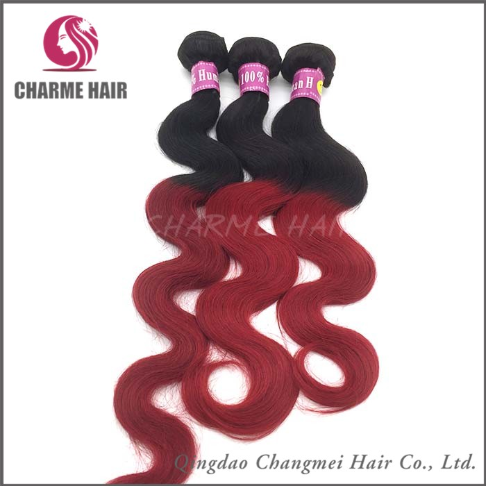 Best Quality Ombre Red Curly Brazilian Hair Weave